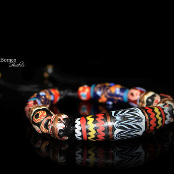 Glass Bead Bracelet Patterned Multicolored Borneo Bead Bangle Tribal Chic Boho Bohemia Bead Jewelry/Pattern#4