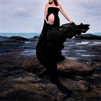 Maternity Stretchy Sexy lash Neck Maxi Dresses Women Photo Shoot Clothing