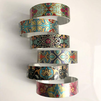 Metal Arm Cuff Bracelet, wide silver multicolor aluminum adjustable boho bohemian art colorful birthday gift gifts for her