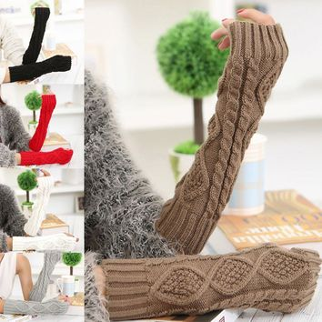1Pair Fashion SpringHot Sale Autumn Winter Warm Women Ladies Girl Solid Gloves Arm Warmer Long Fingerless Knitting Wool Mittens