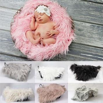 Baby Newborn Faux Fur Photography Photo Props Blanket Basket Stuffer Rug Beanbag Background Backdrop [8834014412]