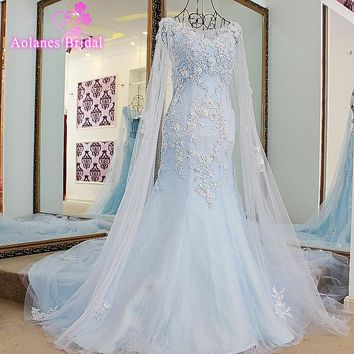 New Arrival 2017 Appliques Pearls Beading Lace Up Back Mermaid Wedding Dress Cap Sleeves Maternity Long  Bridal Gowns Plus Size