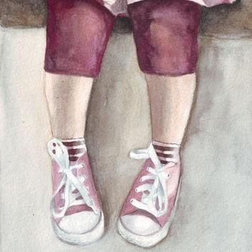 Original watercolor painting Little Girl Legs and Pink Converse art