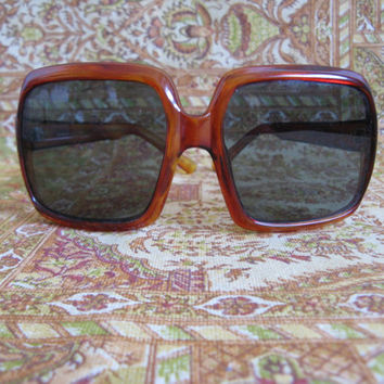 Vintage 1970s Sunglasses Cognac Mottled Square Acrylic 70s Eyewear Runway Made in Italy