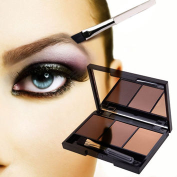 Hot Sale Professional Eye Shadow Eye Brow Makeup 2 Color Eyebrow Powder + Eyebrow Wax Palette + Brush