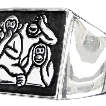 Three Monkeys Ring Mizaru Kikazaru Iwazaru Speak See Hear No Evil in Sterling Silver 925