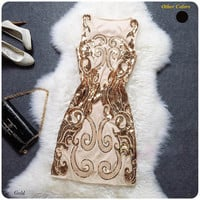 Sequined Baroque Embroidery Mini Dress Formal Dress Party Dress Gatsby Flapper Dress (w046)