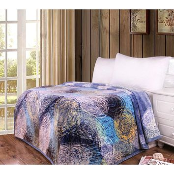 Swirly Painting Navy Blue Yellow White Reversible Soft Warm Cozy Plush Luxe Flannel Fleece Throw Blanket (XY9897)