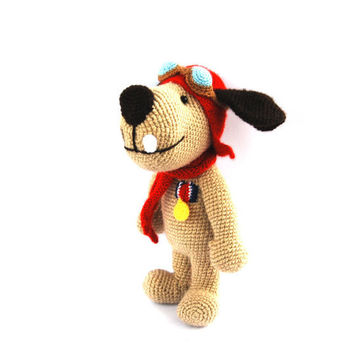 aviator dog, crochet dog, stuffed animal toy, dog doll, dog with aviator hat amigurumi dog funny toy for children Muttley cartoon, beige red