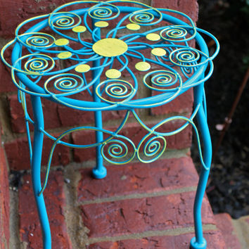 Unique Turquoise & Yellow Plant Stand/Table by AquaXpressions