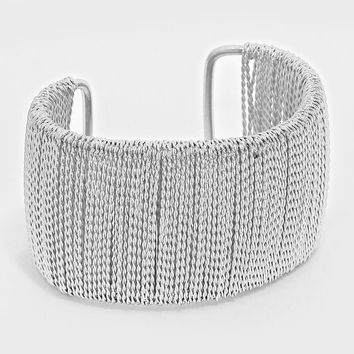 """1.70"""" wide silver chain wrapped bracelet bangle cuff"""