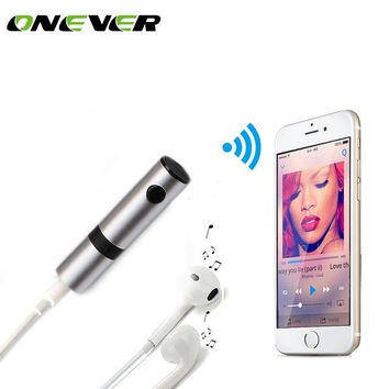 Onever Wireless Bluetooth jack Car Kit Hands free 3.5mm Jack Bluetooth Audio Receiver Adapter AUX with Mic for Speaker Headphone