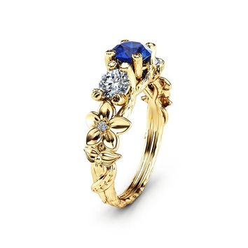 Blue Natural Sapphire Engagement Ring Unique Three Stone Branch Ring in 14K Yellow Gold Flower Ring with Natural Diamonds