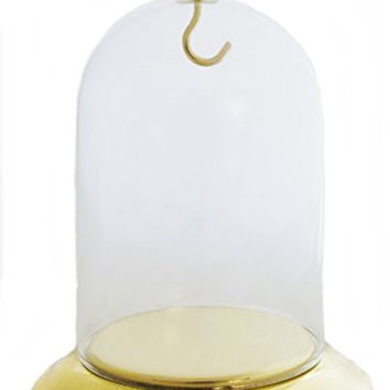 Pocket Watch Glass Display Dome Gold Plated Base & Hook
