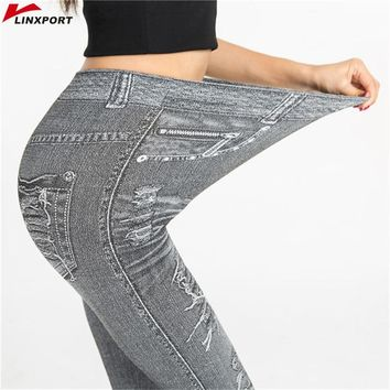 Women Workout Faux Denim Jean Leggings Sexy Yoga Pants Dry Fit Sport Pencil Pant Elastic Fitness Gym Pants Running Tight Capris