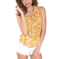 Hi There Floral Top - Yellow