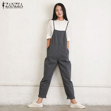 Rompers Womens Jumpsuits ZANZEA Summer Casual Loose Vintage Sleeveless Strapless Playsuits Bodysuits Overalls Black Gray