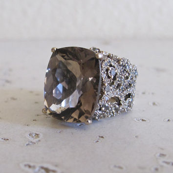 Statement Ring with Smoky Quartz accented with Pave Set Diamonds- Designer Ring- Elegant Ring- Gemstone Ring- Rings for Her