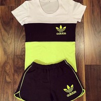 "Women Fashion ""Adidas"" Print Short sleeve Top Shorts Pants Sweatpants Set Two-Piece Sportswear H 8-8"