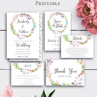 Boho Wedding Set, Wedding Invite, Floral Wedding Set, Printable Invite, Wedding Thank You, Wedding RSVP, Wedding Details Card, Download