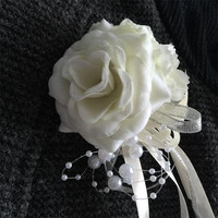DIY Groom Boutonniere Bride wrist Corsage Prom Ivory Sister Hand Flower Wedding flowers Rose Prom Wedding Home party decoration