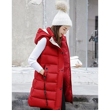 Womens High Collar Hooded Puffer Winter Vest in Red