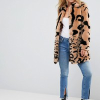 Barney's Originals Leopard Mix Faux Fur Coat at asos.com