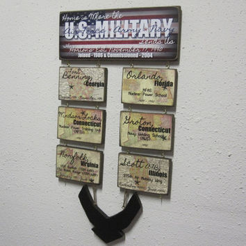 U.S. Military Duty Station Military Sign -  Multiple Branches - Marines - Navy - Air Force - Coast Guard - Army