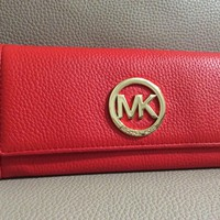 $178 Michael Kors Wallet Sangria Red Leather Clutch Fulton Mk Flap Continental