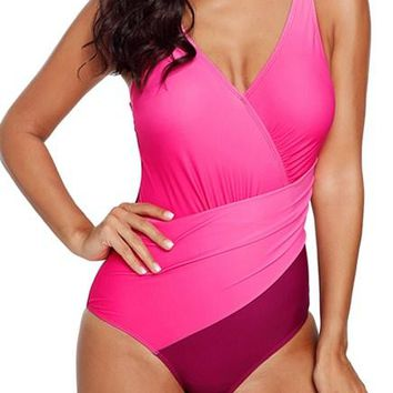 Rosy Ombre Tie Dye Wrap Front Teddy Swimsuits