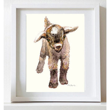Baby Goat Painting Baby Goat Watercolor Farm Art Fine Art Print Nursery Animal Print Goat Watercolor Print Cris Clapp Logan Art