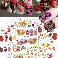 18pcs 2018 Hot Cake/Ice Cream Nail Sticker Mixed Colorful Designs Women Makeup Water Tattoos Nail Art Decals CHSTZ471-488