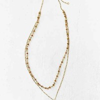 Half Moon Rosary Necklace- Gold One
