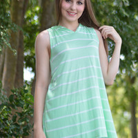 Summer Time Mint Green Sleeveless Hoodie