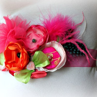 Maternity Sash - Wedding Sash - Belly Band - Ribbon Sash - Pregnancy Photo Prop in Bright Flowers and Feathers