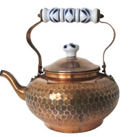 Benjamin & Medwin Hammered Copper Tea Kettle, Delft Blue White Porcelain Handle, 1950's Decorative Teapot