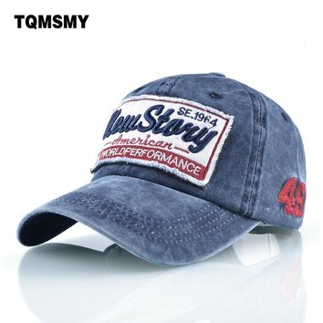 Trendy Winter Jacket TQMSMY Washed denim Snapback caps men Embroidery baseball caps women's cotton Hip hop cap Unisex Sun visor hats for women bone AT_92_12