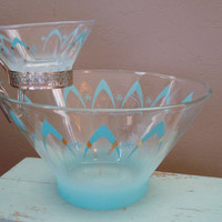 Turquoise Mid Century Chip and Dip Bowl by shoppnspree on Etsy