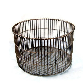 Vintage metal laboratory basket. Industrial rusty  decor. Painted gold  and distressed.