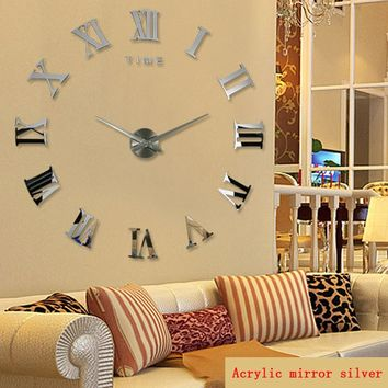 promotion 2016 new home decor large roman mirror fashion modern Quartz clocks living room diy wall clock watch free shipping