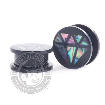 Abalone Diamond Threaded Acrylic Plugs