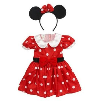 Disney Infant Girls Minnie Mouse Costume Red Polka Dot Baby Dress & Headband