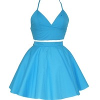 Turquoise Triangle Bralet Crop Top and Skirt set | Style Icon`s Closet