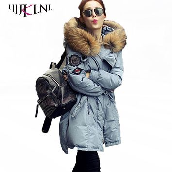 HIJKLNL Women Winter Down Coats With Really Raccoon Fur Collar Female Long Down Jackets 2017 Warm Hooded Down Parkas LZ103