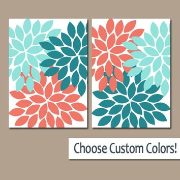 CORAL AQUA Teal WALL Art, Canvas or Print, Flower Bathroom Decor, Floral Bedroom Wall Decor, Flower Nursery Decor, Set of 2 Home Decor