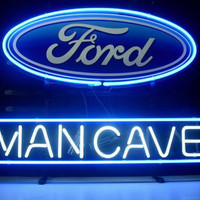 Man Cave Ford Dodge Mustang Auto Car Neon Sign