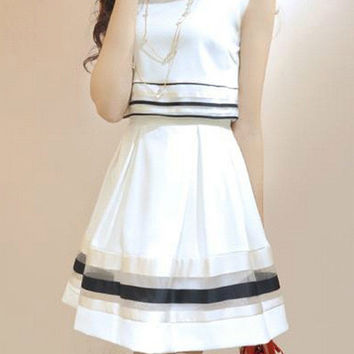 White Striped Lace Sleeveless Chiffon Cropped Mini Dress