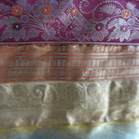 Sari Brocade Border Patchwork Silk Bedding, Handmade Patchwork Royal Bedspread, Twin Size Luxury Bed Cover / Bed Sheet