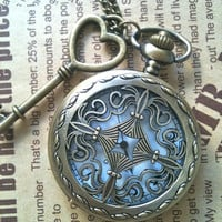 Steampunk Pocket Watch necklace Cross with key charm