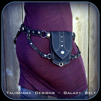 Black canvas cotton utility pocket belt ~ Belly Dance Gangster Diesel Punk style ~ Hip Bag Belt ~ Red Burgundy Pinstripe Trim ~ Galaxy Belt